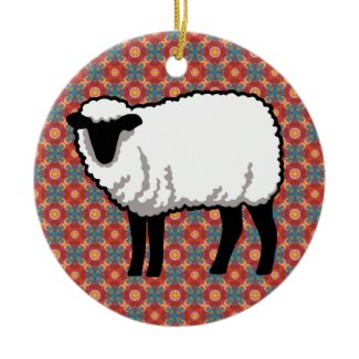 Sheep on Ornate Red Pattern Christmas Ornaments