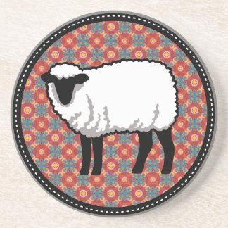 Sheep on Ornate Red Pattern Coaster