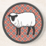 Sheep on Ornate Red Pattern Drink Coaster