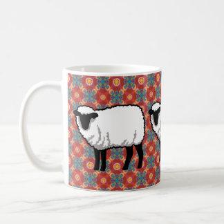 Sheep on Ornate Red Pattern Coffee Mugs