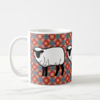 Sheep on Ornate Red Pattern Classic White Coffee Mug
