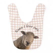Sheep on pink gingham personalized bib