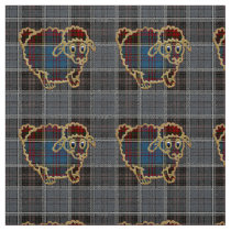sheep on tartan background fabric