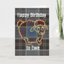 Sheep on tartan.Happy Birthday Card