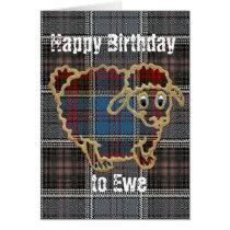 Sheep on tartan.Happy Birthday Card