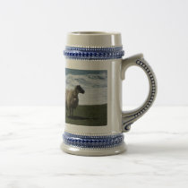 Sheep on wild remote south Devon coastline Beer Stein