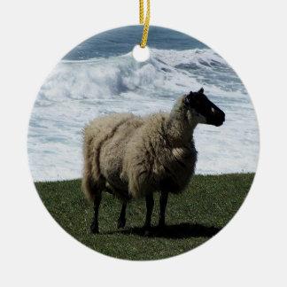 Sheep on wild remote south Devon coastline Double-Sided Ceramic Round Christmas Ornament