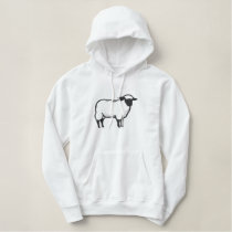 Sheep Outline Embroidered Hoodie