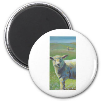 Sheep Painting 2 Inch Round Magnet