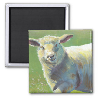 Sheep Painting 2 Inch Square Magnet