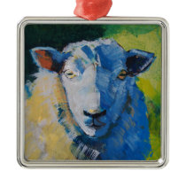 Sheep Painting Metal Ornament