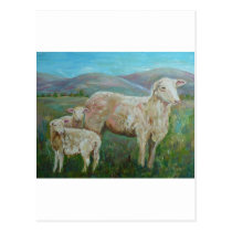 Sheep painting postcard