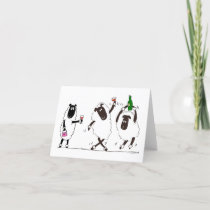 Sheep party time thank you card