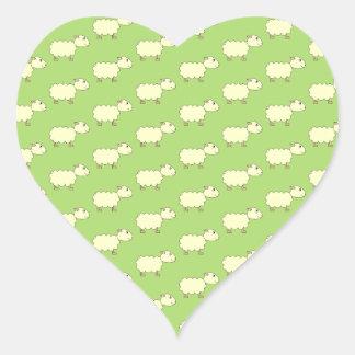 Sheep Pattern. Heart Stickers