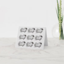 Sheep Pattern Light Grey Note Card