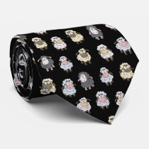 Sheep pattern neck tie