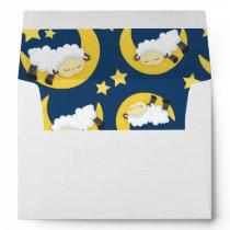 Sheep Pattern, Sleeping Sheep, Moon, Stars Envelope