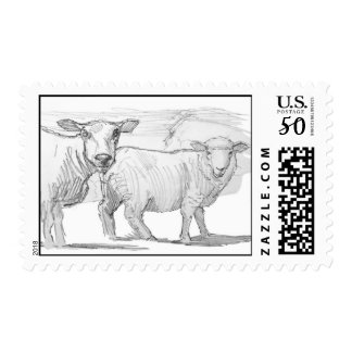 sheep pencil drawing postage