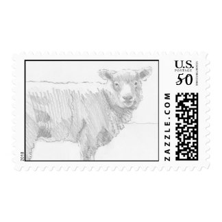 sheep pencil drawing side view postage