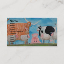 sheep pig highland cow business card