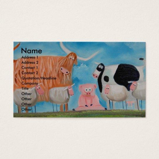 sheep pig highland cow business card