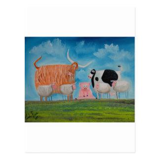 sheep pig highland cow postcard