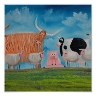 sheep pig highland cow poster