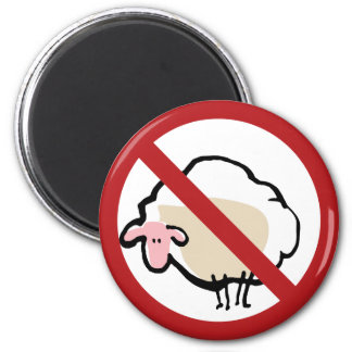 sheep - prohibited! 2 inch round magnet