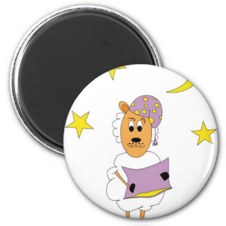 Sheep - property night 2 inch round magnet