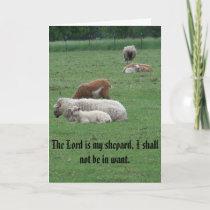 Sheep, Psalm, Peace, Joy, Love Holiday Card