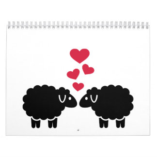 Sheep red hearts love calendars