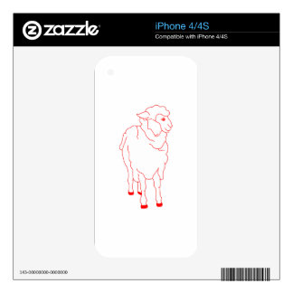 Sheep Redwork Decals For iPhone 4