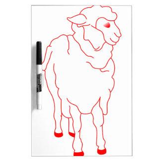 Sheep Redwork Dry-Erase Boards