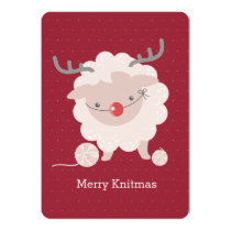 Sheep reindeer antlers knitting crochet Christmas Card