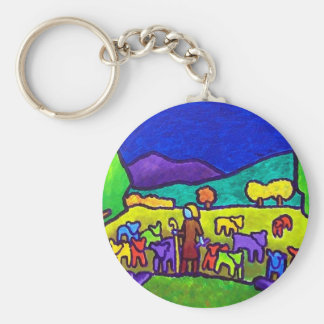 Sheep Roundup by Piliero Basic Round Button Keychain