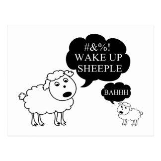 Sheep Says Wake Up Sheeple Postcard