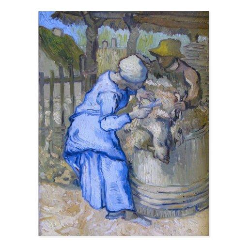 Sheep-Shearers (after Millet), Vincent van Gogh Postcard
