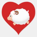 Sheep Sheeps Mammals White Cute Animal Heart Stickers