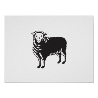 Sheep Side View Woodcut Poster