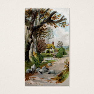 Sheep Sleeping on Shady Country Road Business Card