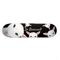 Sheep So Bad Black Animal Pun Illustration Skateboard