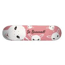 Sheep So Bad Pink Animal Pun Illustration Skateboard