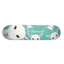Sheep So Bad Teal Animal Pun Illustration Skateboard