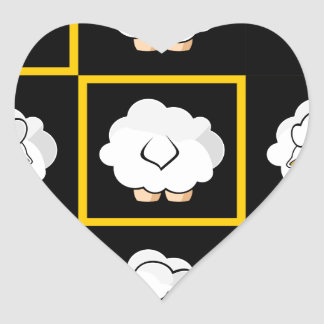 sheep squared heart sticker