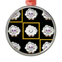 sheep squared metal ornament