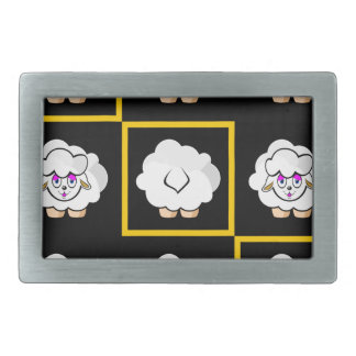 sheep squared rectangular belt buckle