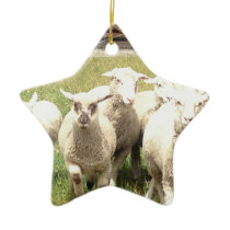 Sheep Stampede Ceramic Ornament