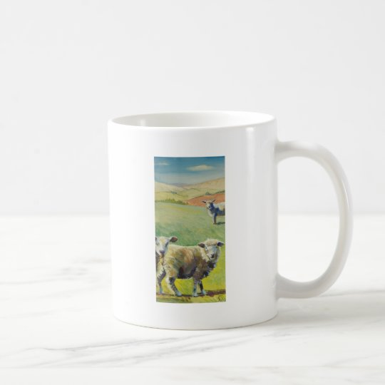 Sheep standing in the sun shine painting coffee mug