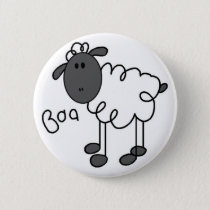 Sheep Stick Figure Button