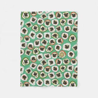sheep sushi green fleece blanket